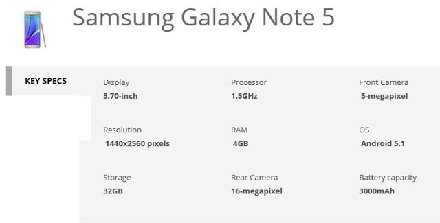 samsung galaxy note 5 specification_techtrainindia.JPG