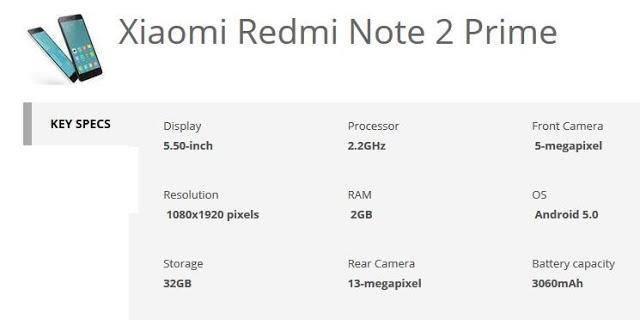 xiaomi redmi note 2 prime specification