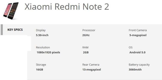 xiaomi redmi note 2 specification