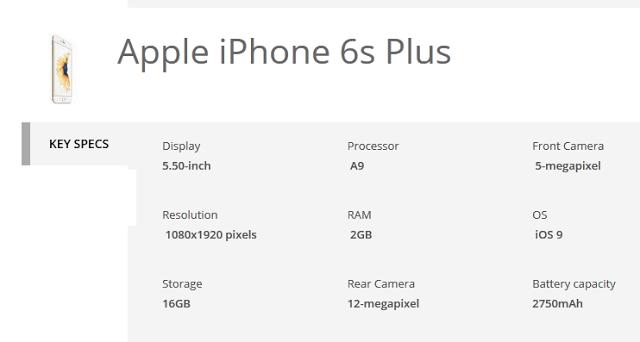 Apple iPhone 6s Plus specifications