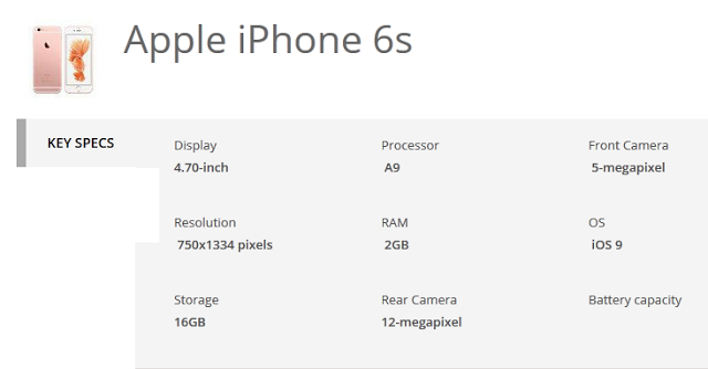 Apple iPhone 6s specifications