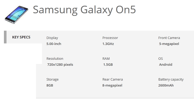 samsung galaxy on5 specs
