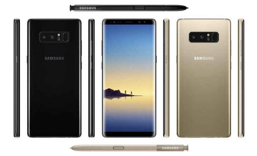 Samsung Galaxy Note8 Gold And Black Coulor