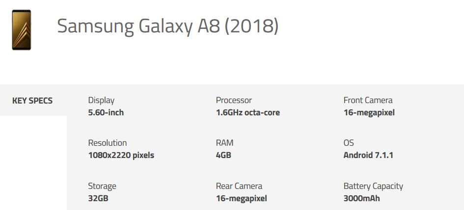 Samsung Galaxy A8 2018 Specs