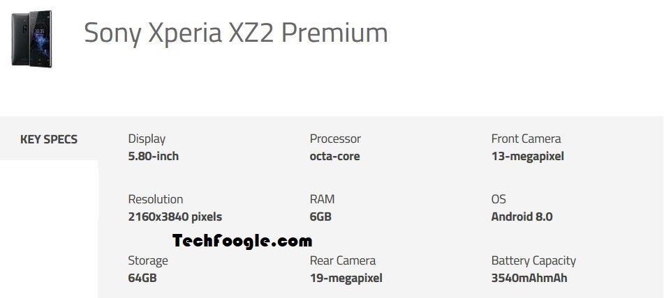 Sony Xperia XZ2 Premium Specifications